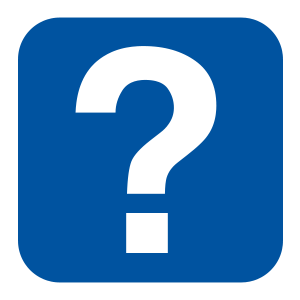 Question mark on blue button 300x300px