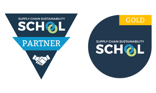 Supply Chain Sustainability School Partner and gold logos