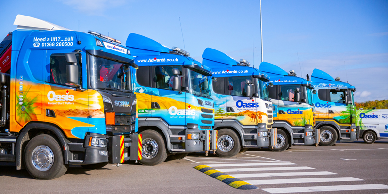 Line up of lorry loaders
